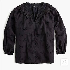 Button-front eyelet peasant top